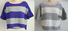 Womens AEROPOSTALE Cropped Stripe Open Crew Sweater NWT  #9253