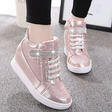 Women Fashion Wedge Diamonds High Top Sneaker Sport Tennis Shoes Oxfords New US