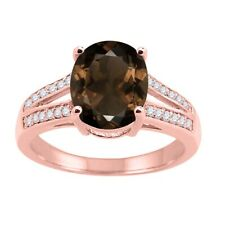 Smokey Quartz Oval and Diamond Wedding/Engagement Ring For Women in 10K Gold