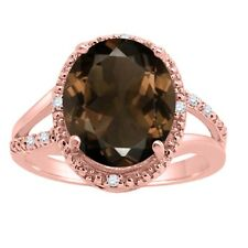 Oval Shaped Smokey Quartz and Diamond Ring in 10K Gold