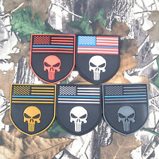 US Navy SEAL DEVGRU THE PUNISHER SKULL SHIELD PVC Vel-cro PATCH 5 Colors