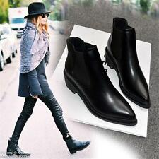 Womens Point Toe Flats Oxfords Punk Ankle Boots Riding Black Leather Shoes size