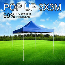 3x3M Blue Gazebo Marquee Heavy Duty POP UP Tent Market Outdoor Folding Beach