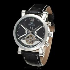 FORSINING New Men's Automatic Analog Stainless Steel Leather Band Wrist Watch