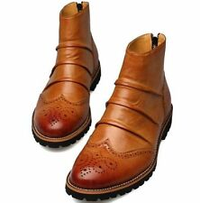 mens ankle boots oxford brogue wingtip lace zip high top dress casual shoes hot