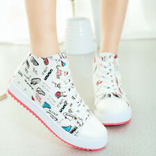 Women's Wedge Heels High Top Lace Up Canvas Platform Sneakers Trainer Shoes CV89