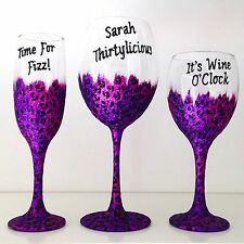 Personalised 40th Birthday Gift Leopard Print Large Wine Glass 30th 50th etc