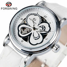 FORSINING Women Mechanical Auto Leather Band Wrist Watch Four-Leaf Crystal Gifts
