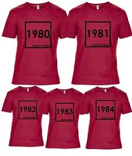 BIRTHDAY T SHIRT Made in 1980 1981 1982 1983 1984 dads present gift year RED NEW