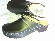 Dutch Leather Wooden Clog Shoe  Black (open) HUGE WINTER SALE & Free Gift