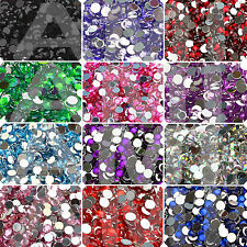 3mm 4mm 5mm ACRYLIC ROUND FLAT BACK CRYSTALS RHINESTONE GEMS NAIL ART 13 COLOURS