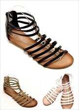 New Women's Fashion Low Heel Wedge Roman Gladiator Cute Flat Sandal Shoes