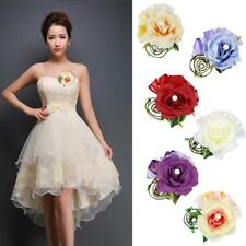 Artificial Open Rose Corsage Boutonniere Wedding Bride Prom Party Quinceanera