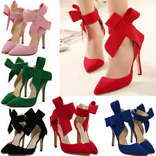 New Women Big Bowknot Point Toe Strap Thin High Heels Evening Party Bridal Shoes