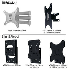 Tilt Swivel Slim Fixed TV Mount Wall Bracket For 10-37 Vesa 50 100 200mm Plasma
