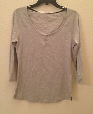 NEW Alfani Women's Long Sleeve Henley Pajama Sleep Top 213918 Stone Grey Medium