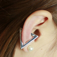 Black Silver Punk Metal Cartilage Ear Cuff Clip Hollow Triangle Earring