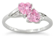 925 Sterling Silver Pink CZ Cubic Zirconia Double Hearts Promise Ring Small Larg