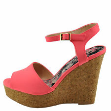 Qupid Kelsey-23 Candy Pink Nubuck Women's Peep Toe Platform Cork Wedge