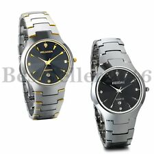 Mens Luxury Date Watch Tungsten Carbide Band Analog Quartz Wrist Watch+Gift Box