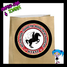 Cowboy Birthday Party Favor Goody Bag STICKERS - Personalized Loot Bag Labels