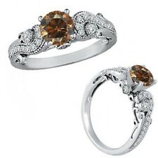 0.75 Ct Champagne Color Diamond Engagement Wedding Bridal Fancy Ring White Gold