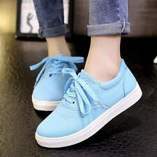 New Womens Cute Canvas Round Toe Lace up Girls Sport Shoes Size Fashion Sneakers