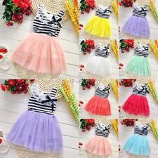 Kid Girl Flower Lace Bowknot Stripes Dress Tutu Puffy Skirt Party Outfits 2-6Y