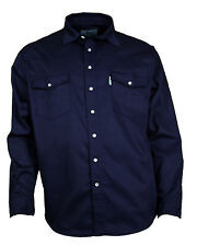 Western Memory Jeans Shirt Cotton Shirt Poppers dark blue S to 4XL