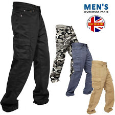 Mens Cargo Trousers Six Pocket  Army Combat Pants Work Jeans Plain Camouflage