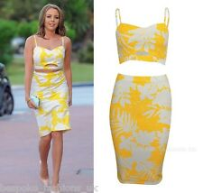 H12D Ladies Womens Towie Lydia Bright Inspire Yellow Floral Bralet & Skirt 8-14