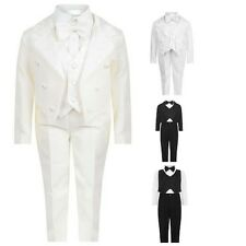 Boys 5 pieces Formal Tuxedo Tail Back Christening Baptism Wedding Birthday Suit