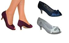 Ladies Satin Lace Silver Navy Evening Wedding Party Low Heel Peep Toe Shoes Size