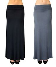 MAXI LONG FOLD OVER SOLID SKIRT COMFY CASUAL RAYON PULL ON S M L