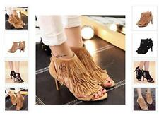 Hot Womens Suede Leather Roman Gladiator Fringe Strappy Sandals Stiletto Pumps