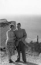 Vintage Old Photograph Couple Man Woman Lighthouse Cliff Black & White Photo VTG