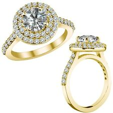 3.68 Ct G-H I1 Round Diamond Marriage Designer Double Halo Ring 14K Yellow Gold