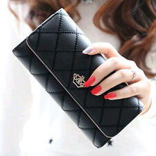 Women Wallets Crown Lady Trifold Clutch Wallet Card Holder Lingge PU Leather New