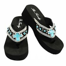 Blue Rhinestone Cross Flip Flops Very Comfortable Big 2 Iinch Heel Style