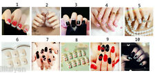 10 Types 24 Pcs Hot Carving Elegant French Art False Fake Nails Full Tips