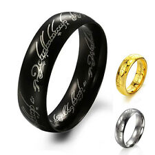 Hot Cool Titanium Gold Silver Band Ring Lord of Rings LOTR Jeweley Party Wedding