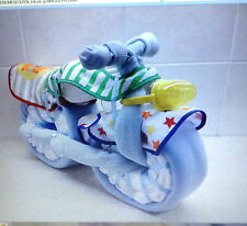 Baby shower nappy cake boy Motorbike/Bicycle gift new mum blanket unique