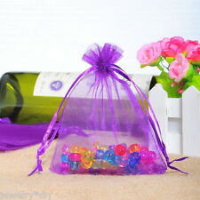 Wholesale  9x12cm Dark purple Drawable Organza Wedding Gift Bags&Pouches