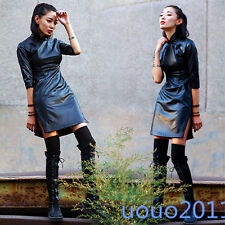 Chic New Womens Sexy Faux Leather Chinese Style Slim Fit Punk cheongsam Dresses