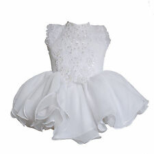 New Baby Girl Glitz Pageant Formal B-day Party Dress size 1 (6-12M) white, pink