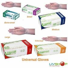 2 Boxes of Universal Clear Examination Vinyl Gloves Low Powder XS,S,M,L,XL