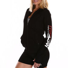 NEW WOMENS long sleeve ZIP UP BLACK Jumper tops ladies Sweater YOGA Gym Sport