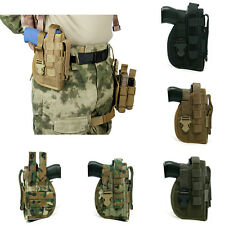 Military Tactical Molle Right Hand Belt Holster with Magazine Pouch for Pistol