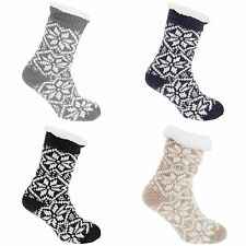Co-zees Womens/Ladies Chunky Knit Long Lounge Slipper Socks With Grip