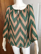GORGEOUS Sheer Chevron  Blouse Womens Plus Size